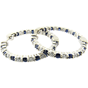 Vintage 14 Karat White Gold Diamond and Sapphire Inside Out Hoop Earrings