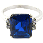 Vintage 10 Karat White Gold Synthetic Sapphire and Cubic Zirconia Ring Size 6