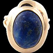 Vintage 14 Karat Yellow Gold Lapis Ring Size 6.25