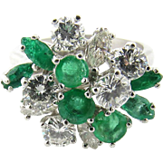 Vintage Platinum Emerald and Diamond Ring Size 5.75