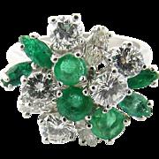 Vintage Platinum Emerald and Diamond Ring Size 5.75