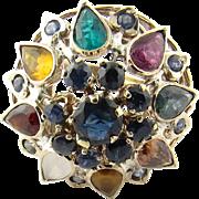 Vintage 10 Karat Yellow Gold Multi Stone Harem Ring Size 5