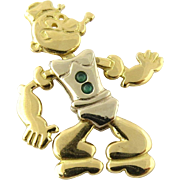 Vintage 18K Yellow Gold and Genuine Emerald Movable Popeye Pendant