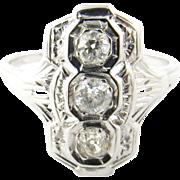 Vintage 14 Karat White Gold and Diamond Ring Size 6