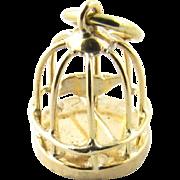 Vintage 18 Karat Yellow Gold Bird in Birdcage Charm