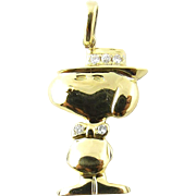 Vintage 18 Karat Yellow Gold and Diamond Snoopy Charm