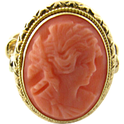 Vintage 18 Karat Yellow Gold Coral Cameo Ring Size 7