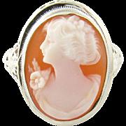 Vintage 14 Karat White Gold Cameo Ring Size 6.25