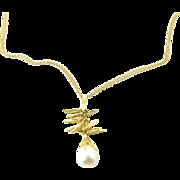 Vintage 18 Karat Yellow Gold Pearl Pendant Necklace