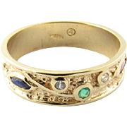 Vintage 14 Karat Yellow Gold Gemstone Ring Size 6.75