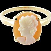 Vintage 14 Karat Yellow Gold Cameo Ring Size 5.25