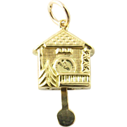 Vintage 10 Karat Yellow Gold Cuckoo Clock Charm