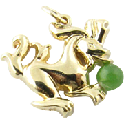 Vintage 14 Karat Yellow Gold and Jade Dragon Charm