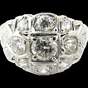 Vintage 18 Karat White Gold Diamond Ring Size 6.75