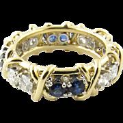 Vintage 18 Karat Yellow Gold Sapphire and Diamond Eternity Band Size 6.75
