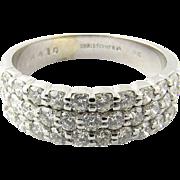 Vintage 18 Karat White Gold Diamond Band Size 8