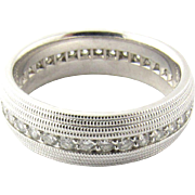 Vintage 14 Karat White Gold Diamond Eternity Wedding Band Size 6.75