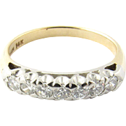 Vintage Platinum and 14K White Gold Diamond Wedding Band Size 6