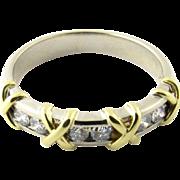 Vintage 14 Karat White and Yellow Gold Diamond Wedding Band Size 5.75
