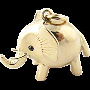 Vintage 14 Karat Yellow Gold and Sapphire Elephant Charm