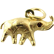 Vintage 18 Karat Yellow Gold and Ruby Elephant Charm