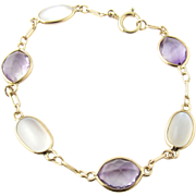 Vintage 14 Karat Yellow Gold Amethyst and Moonstone Bracelet