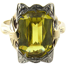 Vintage 10 Karat White and Yellow Gold Citrine Ring Size 5.5