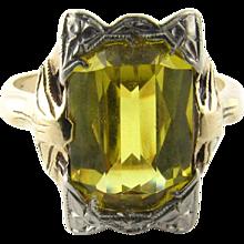 Vintage 10 Karat White and Yellow Gold Citrine Ring Size 5.5