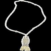 Vintage 14 Karat White and Yellow Gold Diamond Pendant Necklace