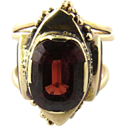 Vintage 14K Yellow Gold Ornate Genuine Garnet Ring Size 5.5