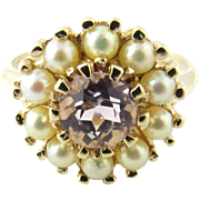 Vintage 14 Karat Yellow Gold Amethyst and Pearl Ring Size 8.5