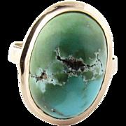 Vintage 10 Karat Yellow Gold Turquoise Ring Size 5.75