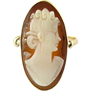 Vintage 14K Yellow Gold Oval Cameo Ring Size 4