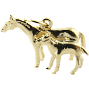 Vintage 14 Karat Yellow Gold Mare and Foal Charm