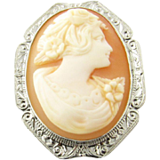 Vintage 14 Karat White Gold Cameo Brooch