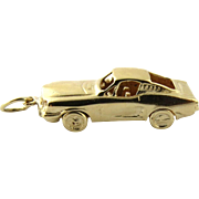 Vintage 14K Yellow Gold 3D 1968 Mustang Car Charm with Movable Wheels