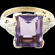 Vintage 10 Karat White Gold Amethyst and Diamond Ring Size 6