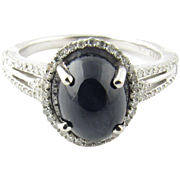 Vintage 14 Karat White Gold Star Sapphire and Diamond Ring Size 6.5