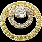 Vintage 14 Karat Yellow and White Gold Diamond Slide Pendant