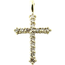 Vintage 10 Karat Yellow Gold Diamond Cross Pendant