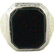 Antique Victorian Men's 14K Gold Bezel Set Bloodstone Ring Size 9.25