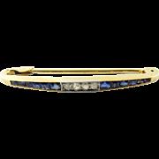 Vintage 18 Karat Yellow Gold Sapphire and Diamond Brooch