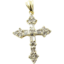 Vintage 14 Karat Yellow Gold Diamond Cross Pendant