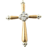 Vintage 14 Karat Yellow Gold and Diamond Cross Pendant