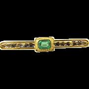 Vintage 14 Karat Yellow Gold Emerald Brooch/Pin