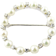 Vintage 14 Karat White Gold Pearl and Diamond Brooch