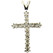 Vintage 14 Karat White Gold Diamond Cross Pendant