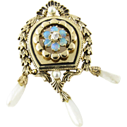 Antique 14 Karat Yellow Gold Opal and Pearl Brooch/Pendant