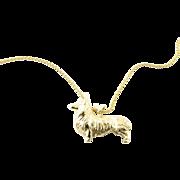 Vintage 14 Karat Yellow Gold Corgi Pendant Necklace