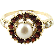 Vintage 14 Karat Yellow Gold Pearl and Garnet Ring Size 7